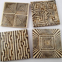 Geometric Pattern, Wood Coasters, Wooden Coasters, Wood Burning, Pyrography, Modern Decor, House Warming Gift, Wood Burned Coasters, Design