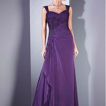 [103.69] Elegant A-line Gown Floor-Length Mother of the Bride Dress with Detachable Sleeves - dressilyme.com