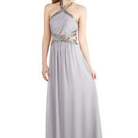 ModCloth Long Halter Maxi Dancing in the Swoon-light Dress