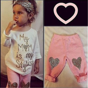 USA Baby Girl Kids Top Casual T Shirt+Leggings Pant Outfit Set 0-5Y Clothes Xmas