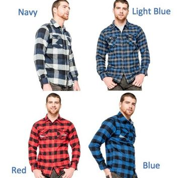 Blue Gear Young mens Flannel Shirt (U.S. Sized)  Young Mens Casual Plaid Shirts Long Sleeve Checked Shirt Brushed Flannel Men