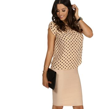 Taupe Dots All Over Blouse