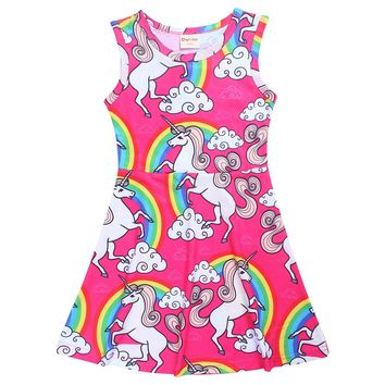 Dresses For Girls Unicorns Dress 2017 Spring Summer Girls Dress Kids Party Print Girl Clothing Cotton Vestido 3-10Y