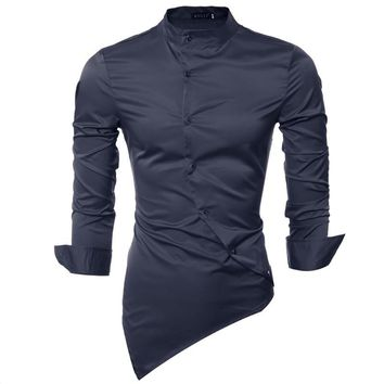 Men Shirt Luxury Brand 2017 Male Long Sleeve Shirts Casual Mens Personality Oblique Single-Breasted Slim Fit Dress Shirts Mens