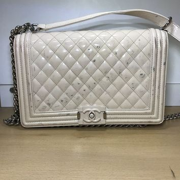 Chanel Medium Plus Boy Bag Beige Quilted Patent Leather