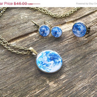 FREE SHIPPING Mother Earth jewelry set - pendant, ring and earrings. Resin jewelry, gift idea for her. Space, galaxy, blue planet jewerly