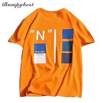 Men's Funny letter Printed Short Sleeve Summer T Shirt Street wear Casual Cotton Tops Tees