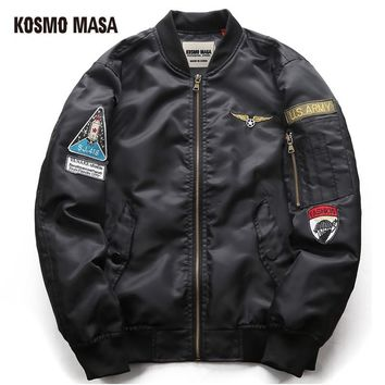 Trendy KOSMO MASA 2017 MA1 Military Jacket Coat For Men Regular Cotton Winter Air Force Pilot Man Thick Space Hooded Jackets MJ0057 AT_94_13
