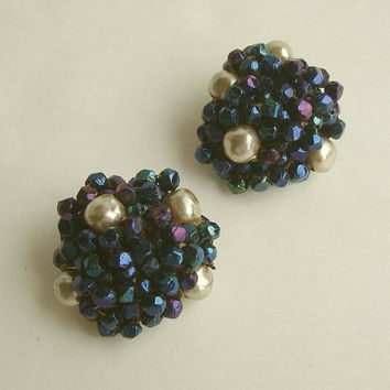 SANDOR Enameled Bead Faux Pearl Cluster Clip Earrings Jewelry
