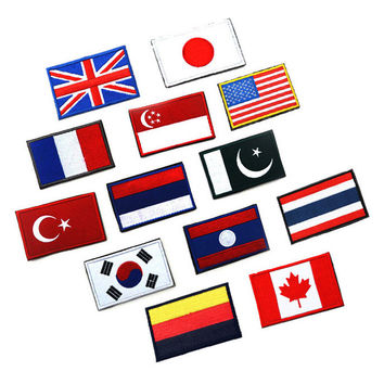 Countries flags American flag the patch for clothes embroidered customized Britain and Germany design Badges Hook Loop 8*5CM