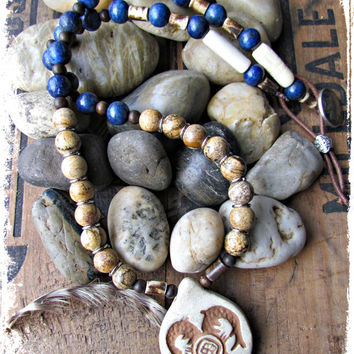 SOUTHWESTERN Pendant Tribal ETHNIC Necklace~Sodalite Stone beads~EARTHY Jasper Gemstone Jewelry~Unisex Eclectic Style Necklace~Mdogstudios~