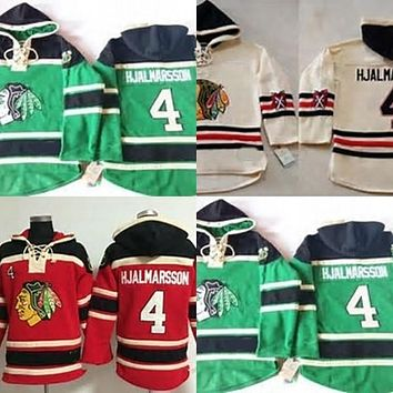 Original Mens Chicago Blackhawks 4 Niklas Hjalmarsson Cheap 100% Embroidery Logo Cheap Green Beige Red Ice Hockey Hoodies/Hooded