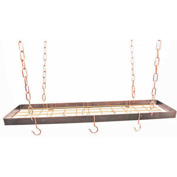 Rogar Rectangular Hanging Pot Rack In Hammered Copper and Copper