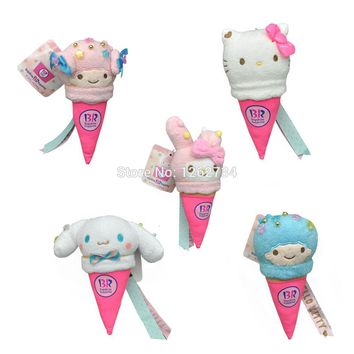 "5 Styles Ice cream Series Hello Kitty  My Melody Rabbit plush &stuffed Toy Doll Puppets 5.5-6.5"" Retail"
