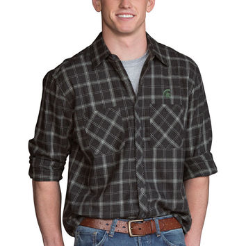 Men's Charcoal Michigan State Spartans Brewer Flannel Long Sleeve Shirt