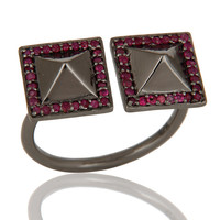 Natural Ruby Black Oxidized Sterling Silver Pyramid Shape Ring Statement Ring
