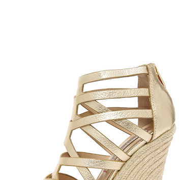Chinese Laundry Lux Light Gold Leather Caged Espadrille Wedges