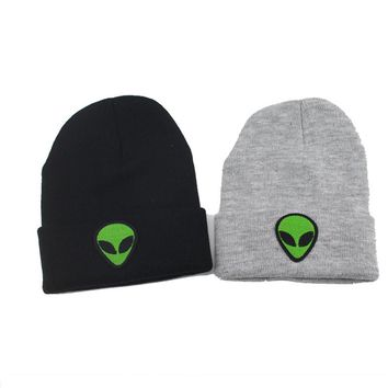 New Alien Embroidered Patch Black Knitted Hip-Hop Extraterrestrial Beanies Hats