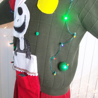 "Large Lite UP Ugly Christmas Sweater Men Nightmare Before Christmas  Holiday Sweater "" with lights Never before seen"