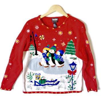 Triplet Ice Skating Penguins Tacky Ugly Christmas Sweater - The Ugly Sweater Shop
