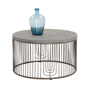 SURGE ANTIQUE SILVER STEEL WITH THICK CONCRETE TOP COFFEE TABLE