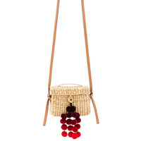 Nannacay Baby Roge Cascade Red Pompom Bag in Off White | REVOLVE