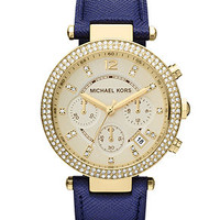 Michael Kors Watch, Women's Chronograph Parker Navy Leather Strap 39mm MK2280 - First @ Macy's! - Women's Watches - Jewelry & Watches - Macy's