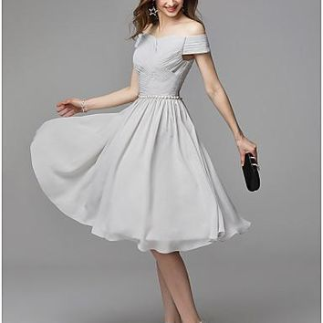A-Line V Wire Knee Length Chiffon Beautiful Back Cocktail Party Dress with Beading / Ruffles by TS Couture®