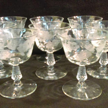 Hand Etched Crystal Wine Glasses, Set of 8, Vintage Barware  (1256)