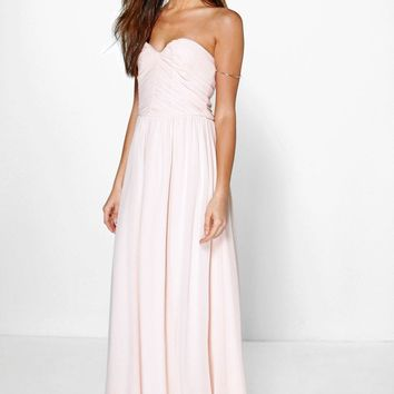 Maya Pleated Chiffon Top Bandeau Maxi Dress | Boohoo