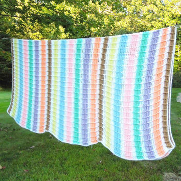 "Vintage knitted knit throw afghan blanket in assorted pastel stripes striped pattern - Colorful knitted blanket pastel colors 86"" x 67"""