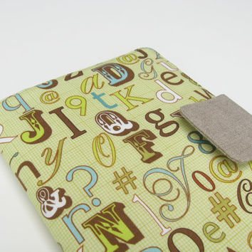 Nook Simple Touch Cover Kindle Fire Cover iPad Mini Cover Kobo Cover Case Handmade Alphabet Letters Hashtag Numbers Punctuation eReader