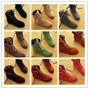 9 colors Women Lace Up Winter Boots Flat Ankle Shoes Spring Autumn [9819228047]