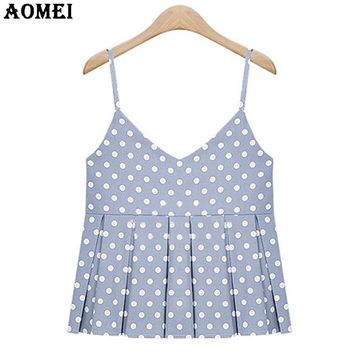 Women Summer Tank Tops Blue Pink with White Polka Dot Spaghetti Strap Girls Casual Pleat Vest Cropped Tops Clothing