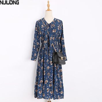 NIJIUDING Floral Print Women Dress Long Sleeve Retro Swing Vintage S-XL  Spring Autumn Dress Tunic Vestidos Elegant
