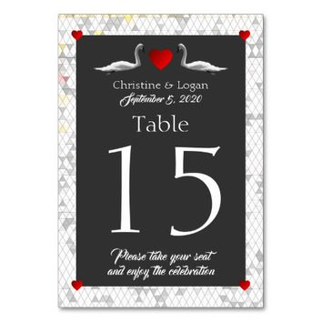 Romantic Swan Wedding Table Cards