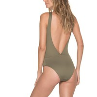 Olive Tie Front One Piece