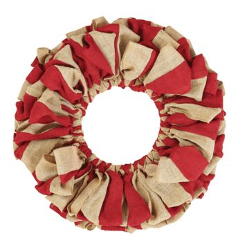 Red and Natural Burlap Wreath