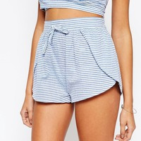 ASOS Petite | ASOS PETITE Seersucker Stripe Beach Short Co-ords at ASOS