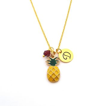 Pineapple Charm - Personalized Initial Hand Stamped Gold Necklace
