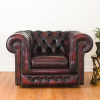 SALE Vintage Cordovan Leather Chesterfield Chair - Made in England