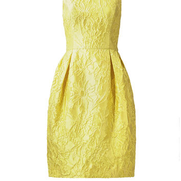 Carmen Marc Valvo Lemon Floral Jacquard Dress