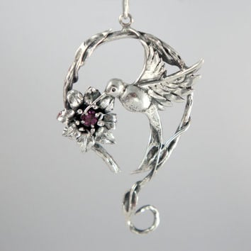Hummingbird with flower pendant in sterling silver with pink rhodolite garnet gemstone - nature ooak jewelry - gift for her - free shipping