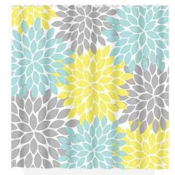 Yellow Aqua Gray SHOWER CURTAIN Custom MONOGRAM Personalized Floral Bathroom Decor Flower Burst Pattern Bath Towel,  Bath Mat
