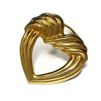 Gold heart scarf clip ring, gold tone ridges, heart shaped scarf slide, sweater clip
