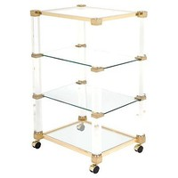 Pierre Vandel Lucite & Brass Bar Cart