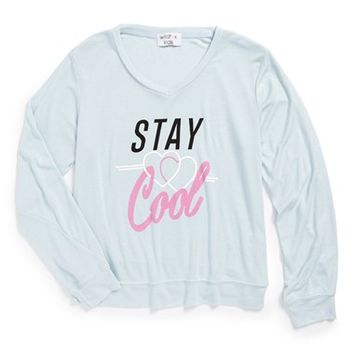 Girl's Wildfox 'Stay Cool - Baggy Beach Jumper' Graphic V-Neck Sweatshirt,