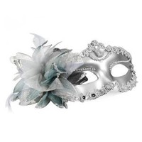SODIAL(R) Venetian Style Silver Eye Costume Masquerade Mardi Mask