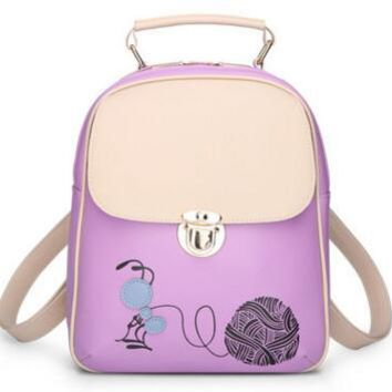 University College Backpack 2018 New Sale Cartoon Printing  Woman Fashion PU Leather s Skull   Style School Student Cute BagsAT_63_4