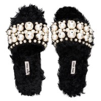 Miu Miu - Slippers - Black - United States - 5XX115_3I33_F0002_F_B005